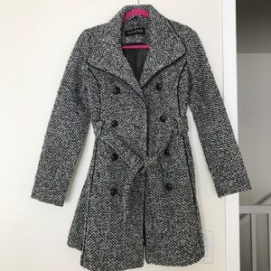Guess Belted Tweed Trench Coat Size XS Petite
